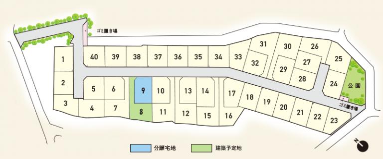 東部ファミリータウン ブロッサムガーデン伊都 区画図
